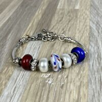 Silver Red White Blue Beaded Charm Bracelet America 4th of July