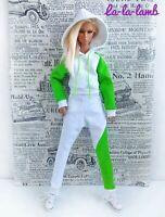 "La-la-lamb White tracksuit, hoodie and pants for Fashion Royalty FR2 12"" dolls"