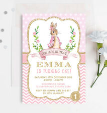For girls greeting cards invitations ebay pink and gold peter rabbit 1st first birthday invitation girls party invite filmwisefo