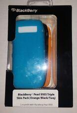 BlackBerry Pearl 9100 & 9105 Triple Silicone Skin Pack TURQUOISE/ BLACK /ORANGE