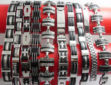 10x Top Quality MIX Men's Stainless Steel bracelets Fashion Wristbands Wholesale
