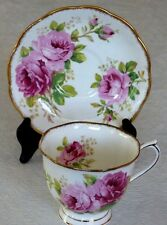 Royal Albert American Beauty Cup & Saucer Scalloped Gold Trimmed Rose Bone China