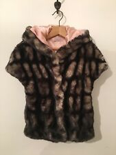 Monnalisa Girls Brown Animal Print Faux Fur Hooded Gillet Body Warmer Age 7