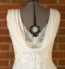 Plus size  24W  White Wedding Gown Sequin Beaded Cap sleeve Zipper Chiffon Drape