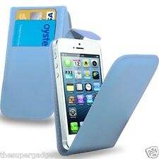 Leather Wallet Flip Case Cover Apple iPhone SE/5/5S & Free Protector - Baby Blue