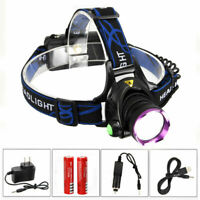 10000LM XM-L T6 LED Rechargeable Headlamp HeadLight Torch USB Lamp+18650+Charger