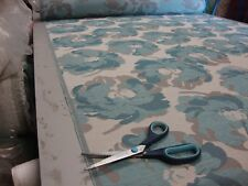 FLORAL TEAL DESIGNER CURTAIN / UPHOLSTERY FABRIC