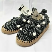 ISOTONER Women's KNIT HOME SLIPPER w/ Pom-Poms and MICROSUEDE SOLE - Size 6 - 7