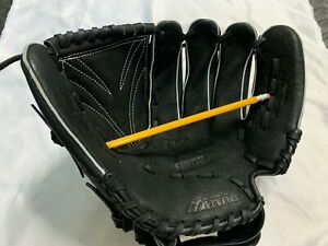 """Mizuno Baseball Glove Youth 12"""" Finch Leather GPP 1203D4 Black Barely Used"""