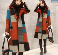 Women lady grid Coat wool blend Long Jacket Slim Parka Outwear Winter Warm Vogue