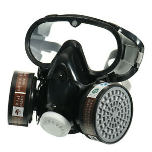 Full Face Protection Emergency Respirator Chemical Gas Mask Goggles Filter 3 IN
