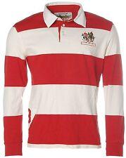 K1389 Signum Herren Langarm Poloshirt Longsleeve -POLO WORLD SOCIETY- Rot Weiß M