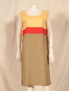 'THEOREME-PARIS' 60'S FRENCH VINTAGE LINEN MIX STRIPE DRESS UK 14/16 - FR 42/44