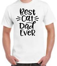 Men's White T Shirt Best Cat Dad Ever Print
