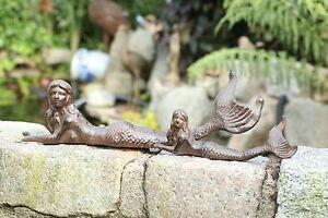 Gusseisen liegende Meerjungfrau Metall braun Garten Deko Figur Skulptur