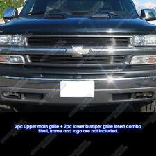 Fits Combo: 99-02 Chevy Silverado 1500/00-06 Suburban/Tahoe Black Billet Grill
