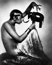Josephine Baker with Elephant Model 1925 McMahan Photo Archive Art Print 10x8