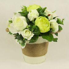 Silk Peony and Roses in Cream Bucket with Rope Handles - Handmade in Vase