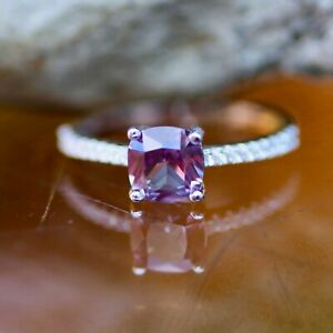 Lab Made Color Change Alexandrite Ring Solid Sterling Silver 925 June birthstone