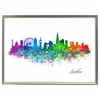 LONDON SKYLINE PRINT WATERCOLOUR SPLASH ART PICTURE POSTER POP ART A4
