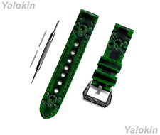 Green & Black Skull Crossbones Leather Band for Huawei Watch GT 2 & GT 46mm -B22