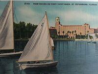 Vintage Postcard PRAM Racing Vindy Yacht Basin Sail Boats St. Petersburg FL. K7