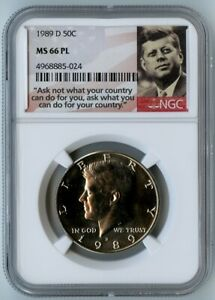 1989-D NGC MS66 PL KENNEDY HALF DOLLAR 50C! BEAUTY!