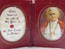 "† RARE SEALED NUN'S VINTAGE ""POPE PIUS X"" TRAVEL POCKET SHRINE RELIC RELIQUARY †"