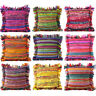 "16, 20, 24"" Colorful Chindi Rag Rug Couch Sofa Pillow Cushion Cover Case Colorfu"
