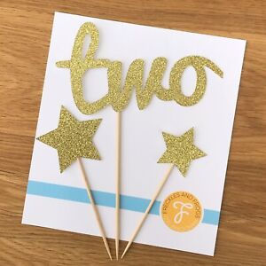 2nd Birthday Cake Topper Set GOLD Glitter Card Two Cake Topper Age 2 Stars