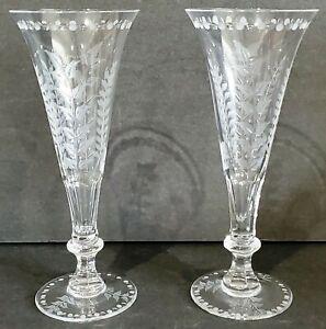 """WILLIAM YEOWARD """"Fern"""" 2 CHAMPAGNE FLUTES crystal glasses w/fern & leaves No Box"""