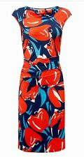 Phase Eight Cora Tulip Floral Dress Red Blue White Size 16 Stretch Fit