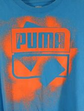 PUMA T Shirt Mens Size MEDIUM Blue Orange Logo Short Sleeves LUSIE