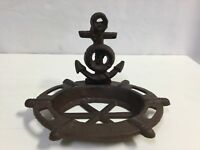 Rustic  Cast Iron Anchor And Ships Wheel Soap Dish