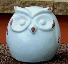 Gorgeous  Large Glazed Pale Blue  Crackled Ceramic  Owl  Ornament  BRAND NEW