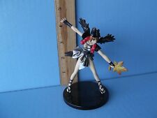 """#012 Video Game Figure of Girl with Black Wings and Grey Dress 3.75""""in PVC"""