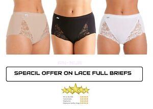 Ladies Lace Brief Maxi Comfort Full Coverage Nicker Underwear Ladies White Black