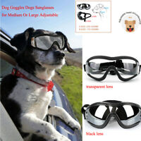 Dog Goggles Sunglasses for Large or Medium Breed w/ Strap Transparent/Black Lens