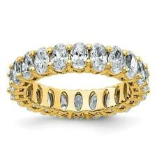 14k Yellow Gold G-Color Moissanite Oval Cut 5mm Wide 5ct Eternity Band Ring Sz 7