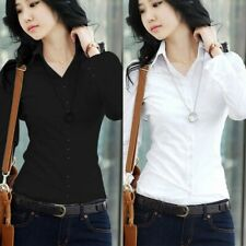 Women's Long Sleeve Button Blouse Office Formal Career Casual Slim T Shirt Tops