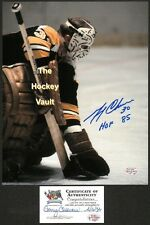 HOFer #30 Gerry CHEEVERS GLOVES The PUCK Boston BRUINS Signed CUSTOM Lab 8X10!!!