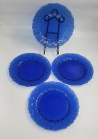 "Set of 8 Avon ""Royal Sapphire"" Cobalt Glass Dinner Plates 10 1/2"""
