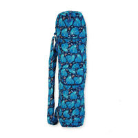 Laurel Burch Indigo Cats Blue Quilted Cotton Zip Yoga Bag With Strap