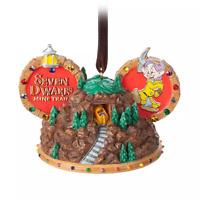 Disney World Seven Dwarfs Mine Train Mickey Ear Christmas Holidays Ornament NEW