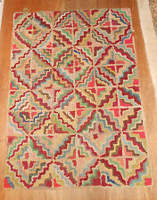 Rare Art Deco Hooked Rug Made From 1920's Women's Wool Bathing Suits