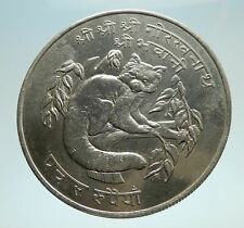 1974 NEPAL King Birendra Bir Bikram Red Panda Silver 50 Rupee Coin i76637