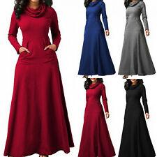 UK Winter Women long sleeve Maxi Dress Ladies Holiday High Neck dress Plus size