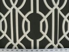 Drapery Upholstery Fabric 100% Cotton Geometric Art Deco Print - Black