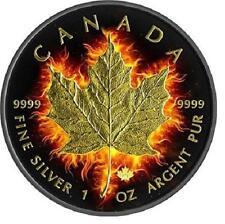 2014 1 oz $5 Fine Silver Coin  Canadian-Burning Maple Leaf