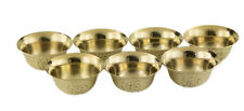7 bols à offrande tibetain Ø 50mm laiton jaune Rituel Bouddhiste ciselé  1561